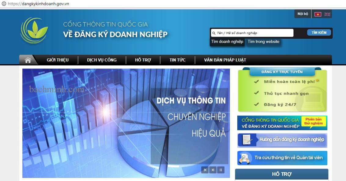 Cổng thông tin về đăng ký doanh nghiệp