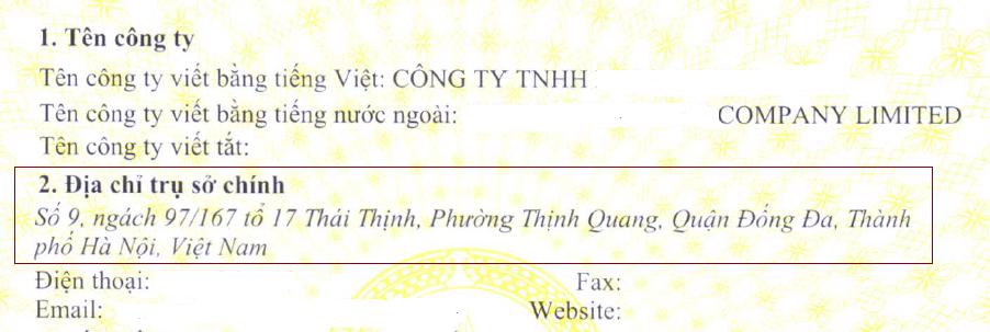 Trụ sở chính Công ty TNHH 2 thành viên