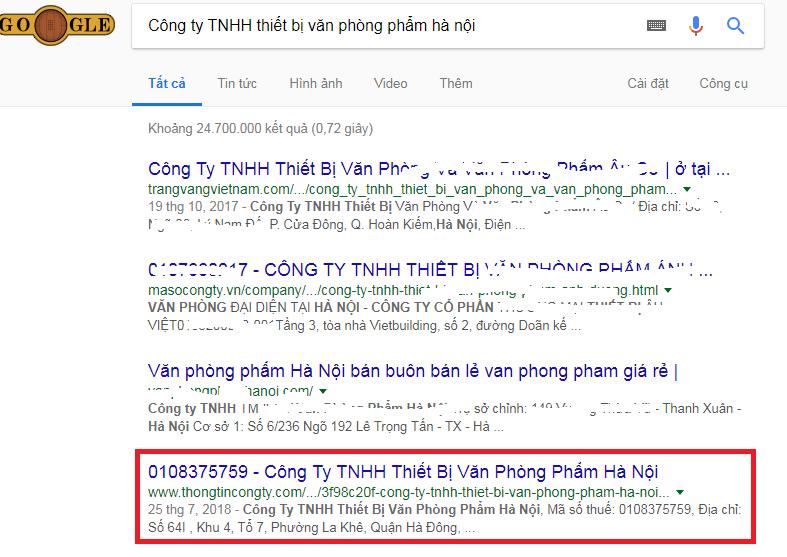 Tra cứu tên công ty bằng Google